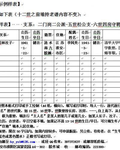 朐阳殷氏第五届续修谱续谱通知书【2010-0002】号